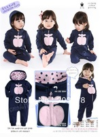 New Baby Girl's Long-sleeve Hooded Romper with Zipper one-piece rompers 6pcs/lot free shipping