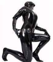 Full cover latex catsuit with condom