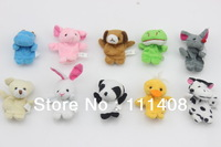 Free Shipping 10pcs cartoon 10 Models Animal Finger Puppet, Finger toy, finger doll, baby dolls lovely Free Shipping wholesale