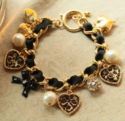 Min. Order is $10 ( Mix order )! Leopard Heart Bowknot with Crystal Ball Pendant Pearl Bracelets & Bangles . BT139001(China (Mainland))