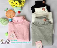 Child sweater bytz sweater female child sweater 100% cotton turtleneck knitted basic elastic shirt ruffle