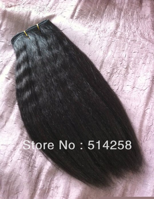 : ) Cheap Mixed Length 2Pcs/Lot 200g Unprocessed Natural Color AAAA 100% Malaysia Kinky Straight Virgin Human Hair Extension(China (Mainland))