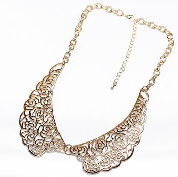 SCML004 Fashion punk metal gold False collar choker necklaces collier colares 2014 new bijuterias finas no atacado