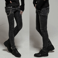 Free Shipping 2012 Male Tights Boys Jeans Slim Pencil Skinny Pants Color:Black Size:28,29,30,31,32,33,34