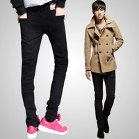 FreeShipping 2012 Casual Slim Skinny Elastic Pencil Pants Male Trend Trousers Support Wholesale Black Size:28,29,30,31,32,33,34