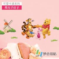 Free Shopping Hawawini hand in hand sanguan wall stickers child real beijingqiang cartoon sticker