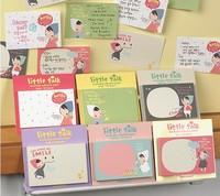 Korea fashion self-adhesive cartoon cute little girl Notepad Memo pads notepaper sticky Refrigerator sticker free shipping