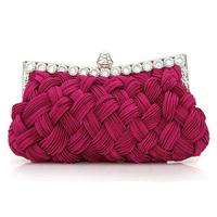 2014 women's handbag knitted diamond  day clutch  evening bag bridal bag fusia hot sale