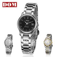 Free shipping Ladies watch DOM ultra-thin waterproof women's watch female diamond steel strip fashion Wristwatches