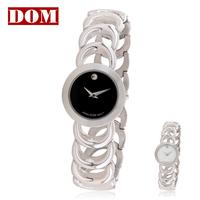 Free shipping DOM  ladies' quartz watch cutout steel watchband  bracelet watch women's watch waterproof fashion Wristwatches