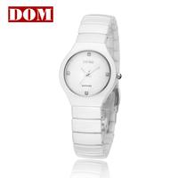 Free shipping DOM Ladies' watch ceramic diamond waterproof women's watch fashion  ladies' Wristwatches