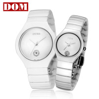 Free shipping hot sell DOM fashion Lovers watch waterproof ceramic lovers' Wristwatches beautifuly his-and-hers watches