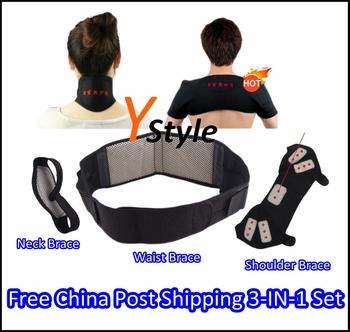 Magnetic Belt with Tourmaline Self-heating for Neck Shoulder Waist, Massager Brace Support 3-IN-1 Set for Christmas Gift