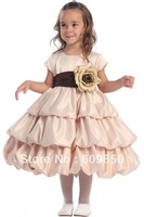 Hot sale popular  A-line  scoop taffeta  short sleeve  scoop  lovely flower girl dress