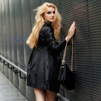 2013 Raccoon fur medium-long PU trench Women double breasted turn-down collar leather clothing patchwork outerwear