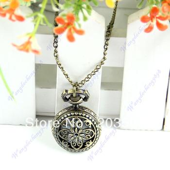 D19+New Hot Vintage Bronze Flower Petal Hollow Quartz Pendant Pocket Watch Chain Necklace