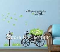 Wall sticker Bicyle festooned vehicle Decorative picture Background wall Wall painting sticker