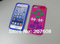 Soft silicone case,New Tetris pattern silicone case cover for Apple Ipod Touch 5 5G,Wholesale 1000pcs/lot