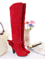 2013 new arrive  wholesale fashion sexy Flowers Flock Rubber over-the-knee boots for women  LD-A-12
