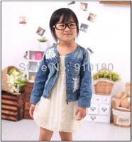 5pcs/lot girls casual spring autumn denim coat kids fashion jeans jacket/outwear children lace embroidery zipper top clothes
