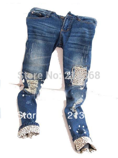 Free shipping//Female leopard print wearing white retro finishing hole butt-lifting pencil jeans roll up hem applique //5239(China (Mainland))