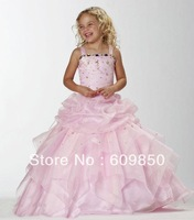Hot sale popular  ball gown spaghetti strap floor-length crystal pink   high quality   flower girl dress