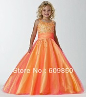 Free Shipping Hot sale popular  A-line spaghetti strap floor-length scoop beading  high quality   flower girl dress