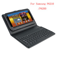 Wireless Bluetooth leather keyboard case For Samsung Galaxy tab 7 p6200 p6210 free shipping