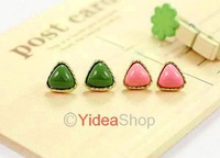 6pairs Wholesale Jewellery Pure Color Cute Sweet Simply Heart Gem Acrylic Stud Earring 261383 261384