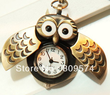 Minimum order amount US$15 (can mix order) Free shipping vintage retro classic new cute owl quartz pocket watch necklace hour(China (Mainland))