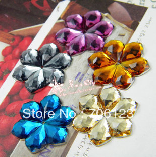 Wholesale DIY  phone / nail art / shoes material Accessories 30mm flower Acrylic diamond flatback Rhinestones 150pcs Mix order