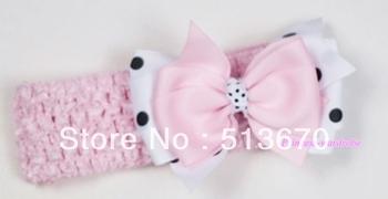 Light Pink Headband with Light Pink &White Black Polka Dots Ribbon Hair Bow Clip MAH504