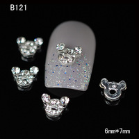 B121 100pcs/lot   fashion lovely Mickey Mouse head shape alloy metal nail art 3D DIY rhinestone craft design decoration