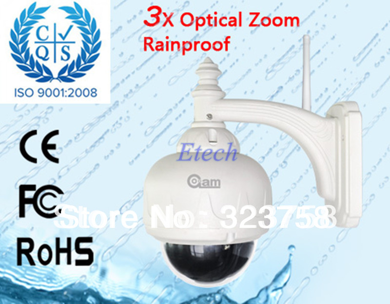 Hot Sale! New 3X Optical Zoom Outdoor Rainproof WIFI IP Camera Wireless 20m Nightvision IR-CUT Camera Freeshipping S575(China (Mainland))