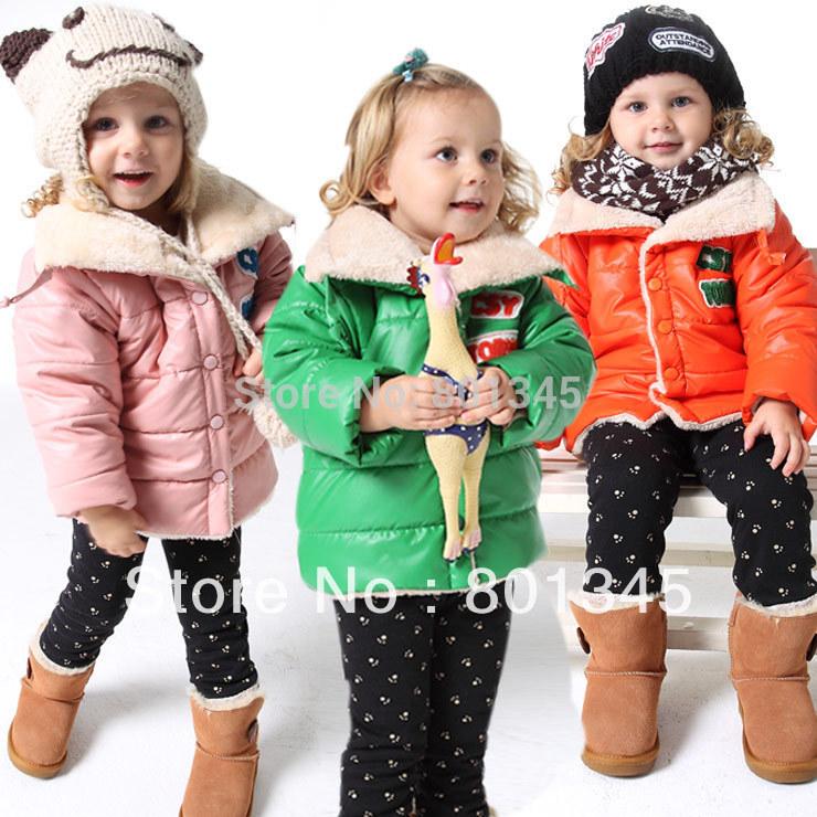 Frete Grátis, 1pcs / lote , roupas infantis da marca inverno algodão reflexivo casacos / crianças casaco, na pele , Plush1-4year , amarelo verde, rosa(China (Mainland))