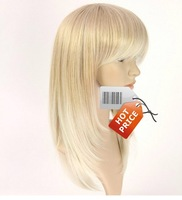 2013 New product,20inch 216G Silky straight Indian Blended Human Hair full wigs color#613 blonde ,FREE SHIPPING