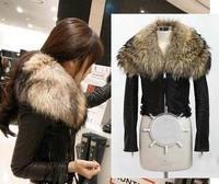 2013 fashion luxury super large raccoon fur motorcycle sheepskin genuine leather short design leather clothing fur coat Women