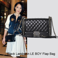 2013 New Women's Black LE Boy Bag Quilted Lambskin Leather Boy Medium Flap Bag with Chain and leather strap Free Shipping