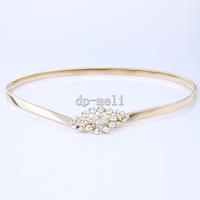 Dp-meli gold fashion chain women's metal belt all-match rhinestone decoration elastic  Belts ,Free shipping