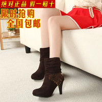 Free shipping winter fashion sexy rhinestone beaded platform velvet high-heeled medium-leg boots female