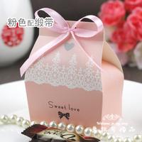 Pink Wedding DIY Box With Ribbon Favour Free Shipping Wedding Box