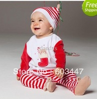 Wholesale - Children autumn boys and girls christmas hat + booties + long-sleeved t-shirt + pants 4 piece suit