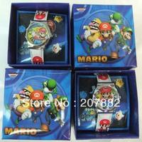 Free shipping!Christmas Gift!50pcs/lot !Fashion Super Mario Bros Cartoon Kids Watch Children Quartz Wrist Watch A1619 Wholesale