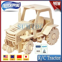 Free shipping!christmas gift,educational toys DIY 3D puzzle wooden remote control tractor V420