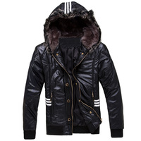 Men's clothing fashion winter short design hooded fur collar clothing leather jacket outerwear