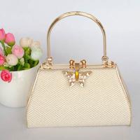 golden  metal Ktv princess bag  evening bag  butterfly closure parytbag clutch bag