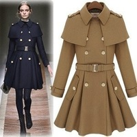 XS-XL Size 2013 Women Fashion Double-Breasted Trench Coat Long Cape Ponchos Outerwear With Belt FWO10102