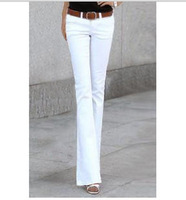 2012 female autumn ol elastic slim lycra cotton bell-bottom trousers black and khaki