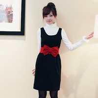 2012 slim autumn and winter butterfly woolen vest one-piece dress tank dress butterfly belt