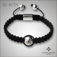 Black thread silver plated beads with flower-de-luce marded fashion bracelet